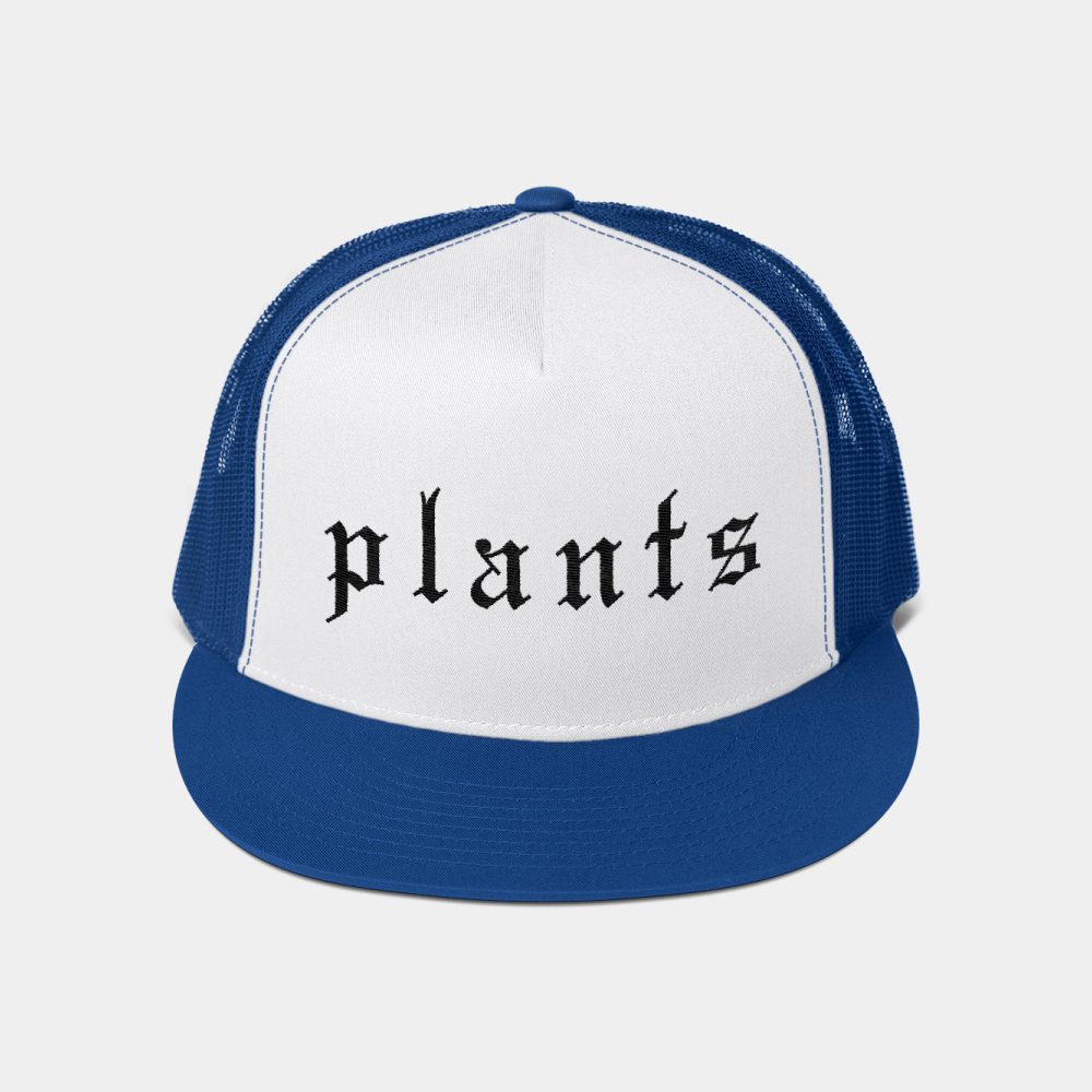 Vegan trucker hat with Plants scripted on it. Plant-based hat by the BLOKLIFE.