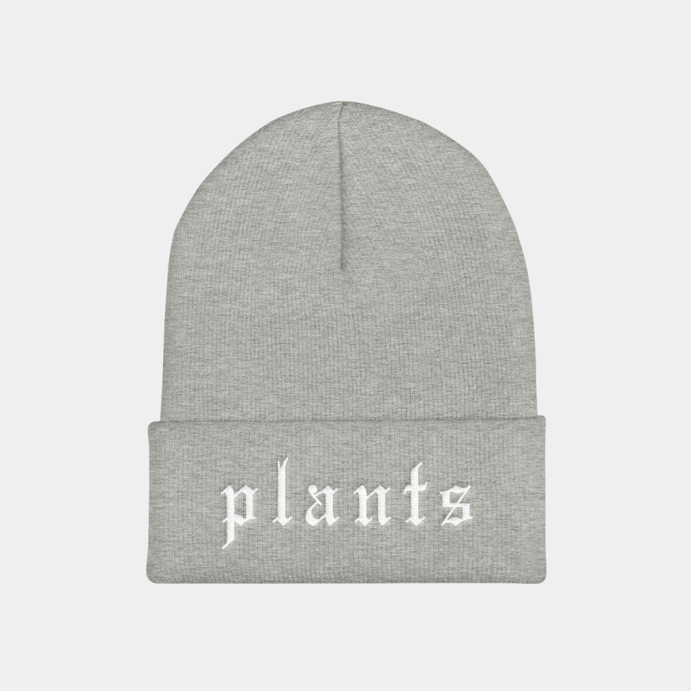 Vegan beanie hat with Plants embroidered stitching.