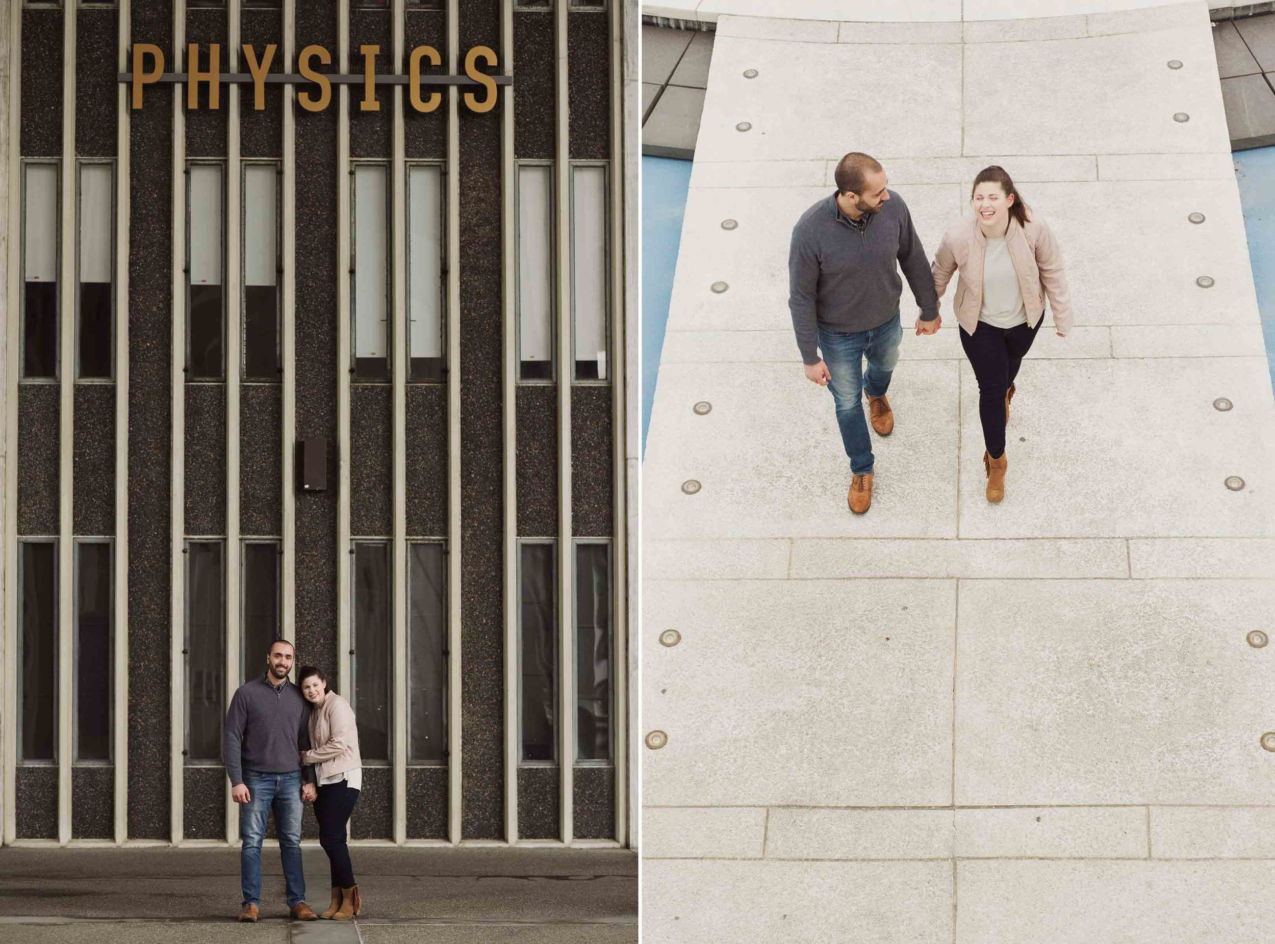 A young caucasian man and woman pose for a photo in front of the Physics building at the University of Albany campus.