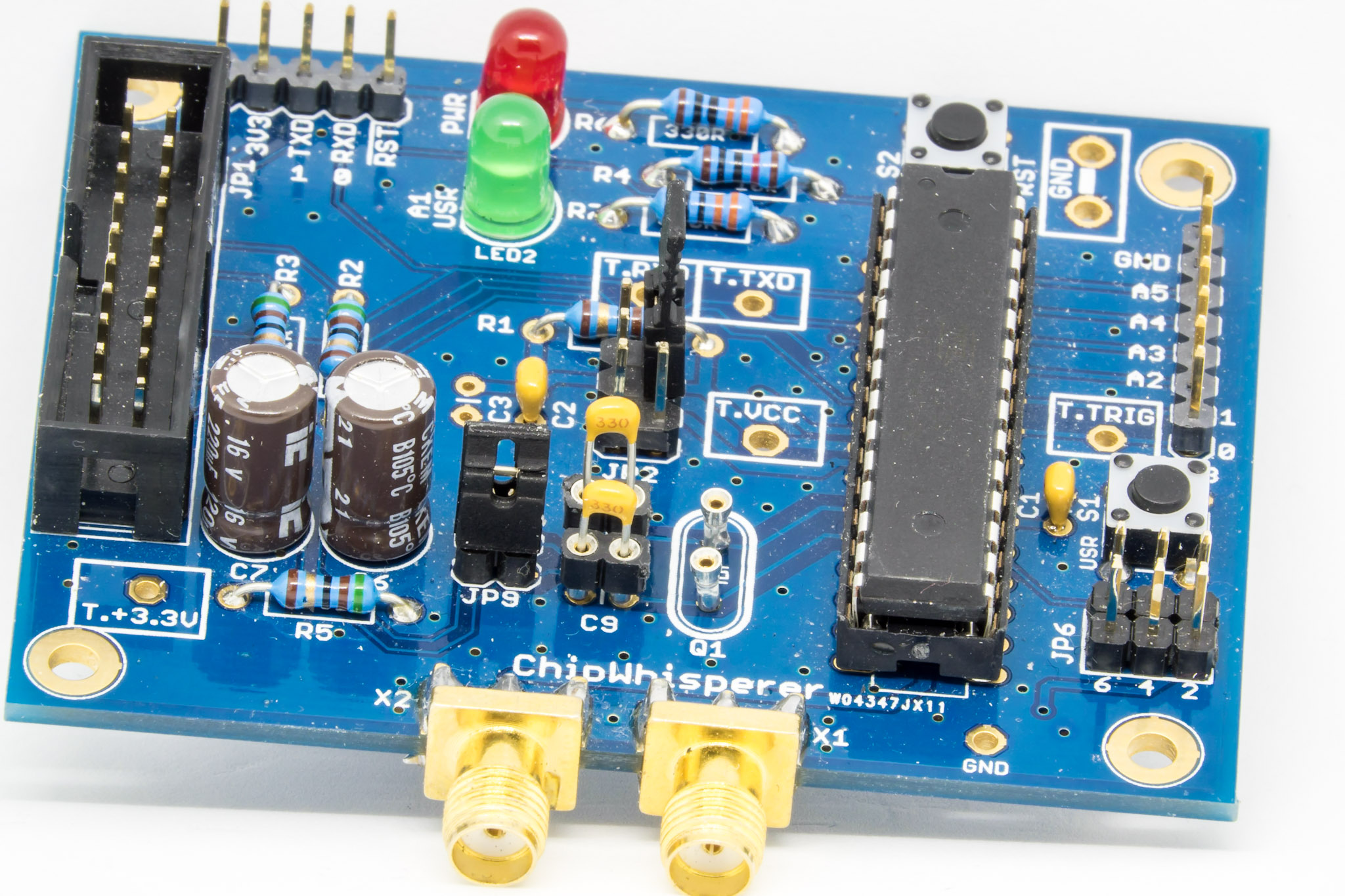 NOTDUINO board with extra headers for a crystal and associated capacitors