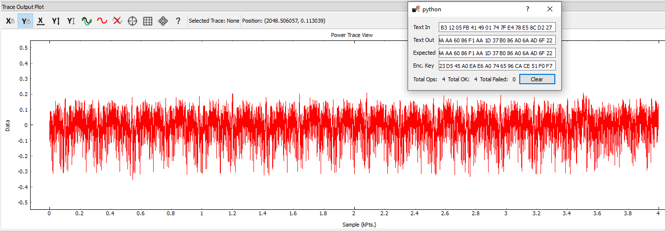 A successful trace capture and the encryption monitor widget showing success