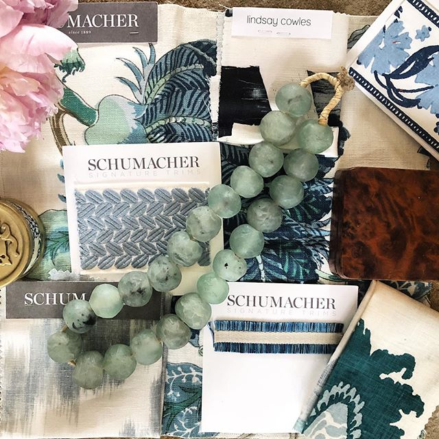 Feeling the blues today-new scheme for a new project! I love the different hues of blue in these swatches! #atlantadesigner #design #interiors #interiordesign #moodboard #designinspo #color #courtneymossdesign #fschumacher #fabric #interiors #interiordesign #atlanta #chic #decor