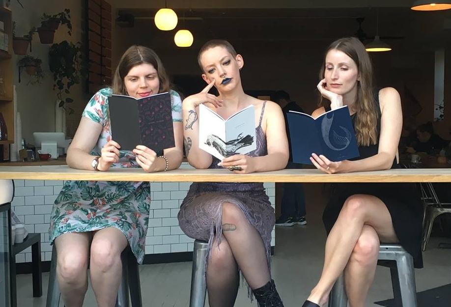 Jess Taylor, Jessica Bebenek, and Jessie Jones celebrating the launch of their new Desert Pets chapbooks.