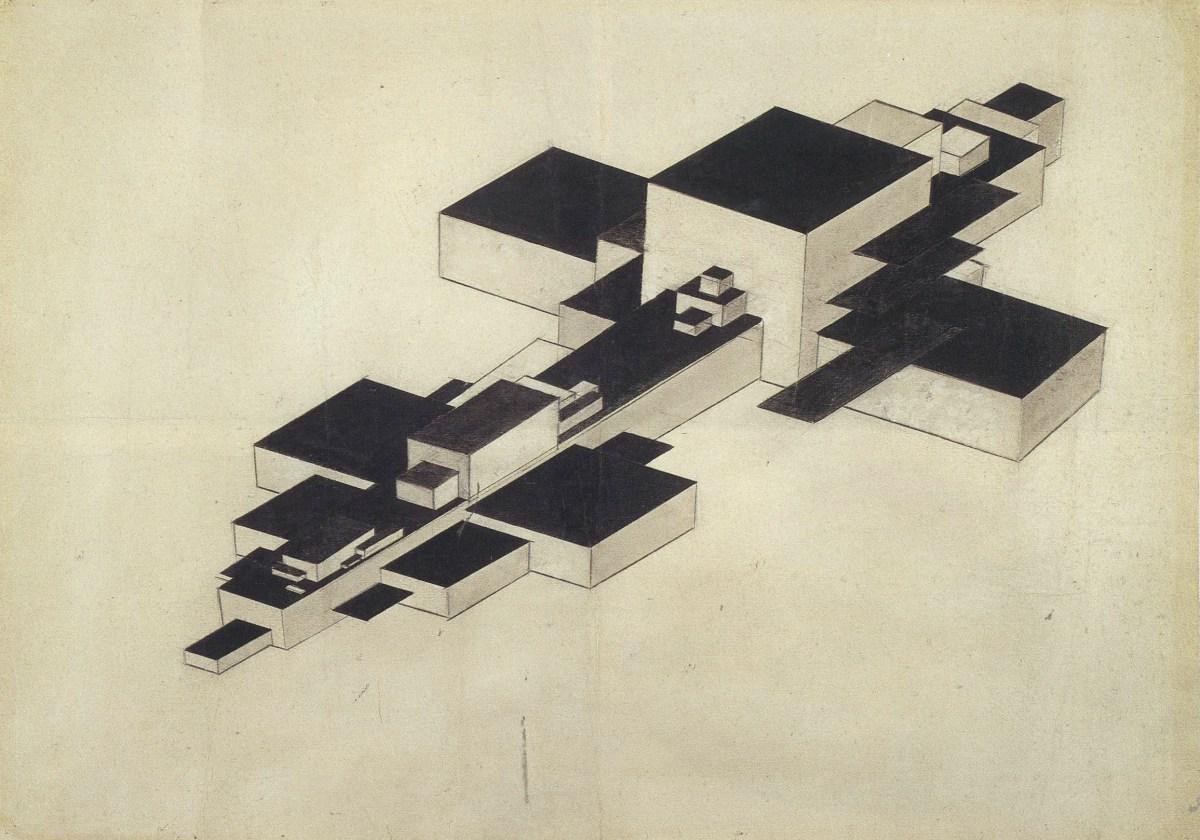 "Ilia Chashnik. ""Design for Supremolet."" 1927. Pencil and india ink on paper. 509 x 719 cm."