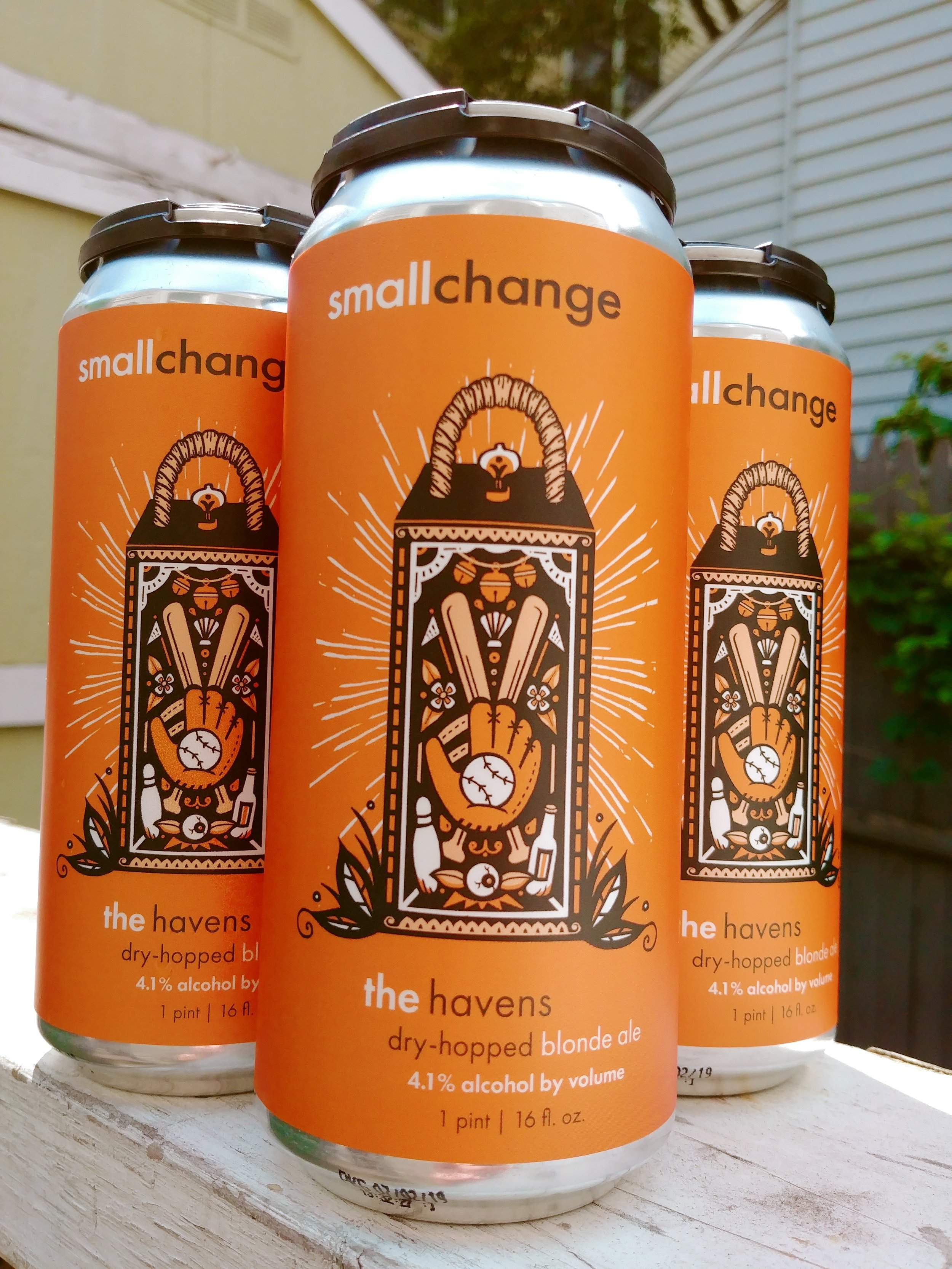 """This 4.1% ABV Blonde Ale is dry-hopped with Amarillo and Citra. Perfect for a summer night (or day), it's light, refreshing and delicious.  Over 12 years ago, we happened upon a group of people that gathered every Saturday morning in the summer """"No Matter What"""" to play a pickup game of softball. They welcomed us into their fold and taught us the traditions of their game, which has been happening every week since the early 80s. Everyone played regardless of age, gender, athletic ability, or skill level, and getting to the bar in one piece after the game was usually most important. The most entertaining player of the game was awarded """"The Havens,"""" and this beer is our tribute to the most entertaining group of people we know.  Drink this beer with friends and family, after (or during!) softball games, and remember: you can't beat fun at the ol' ballpark!  Artwork by  Sarah Dudek"""