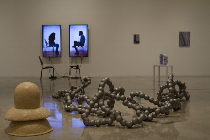 """Installation View from """"Are Friends Electric"""" at Claremont Graduate University, Peggy Phelps Gallery, 2014 – featuring artwork (left to right) by Nancy Lupo, Jay Erker, and Rema Ghuloum) Photo Courtesy Manual History Machine."""