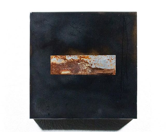 "#rainlucienmatheke ""This is a Piss Test, Or Rather Something Far More Poetic (Interior Void) 1""  Rust, Steel, Burns, Resin on Wood  10"" x 10"" 2017 Oct 15th 2-4.  #beautifulparts #exhibition #csunwestgallery #csungalleries #csunart #csunartsalumni  Juror: #kimabeles  #roughplay #contemporaryart  @kimabeles @rainlucien"