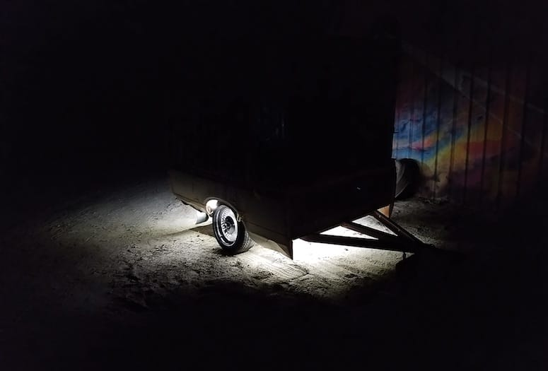 Chris Sanchez, aka Kas Infinite, brings found materials to his sculptural installation like a derelict trailer.