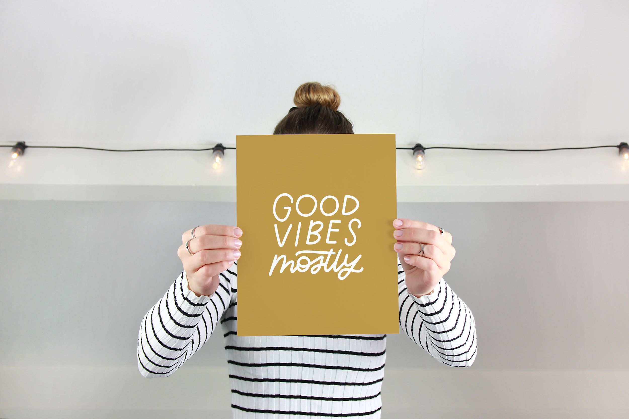 Good Vibes Mostly Olive Wheat Art Print.jpg