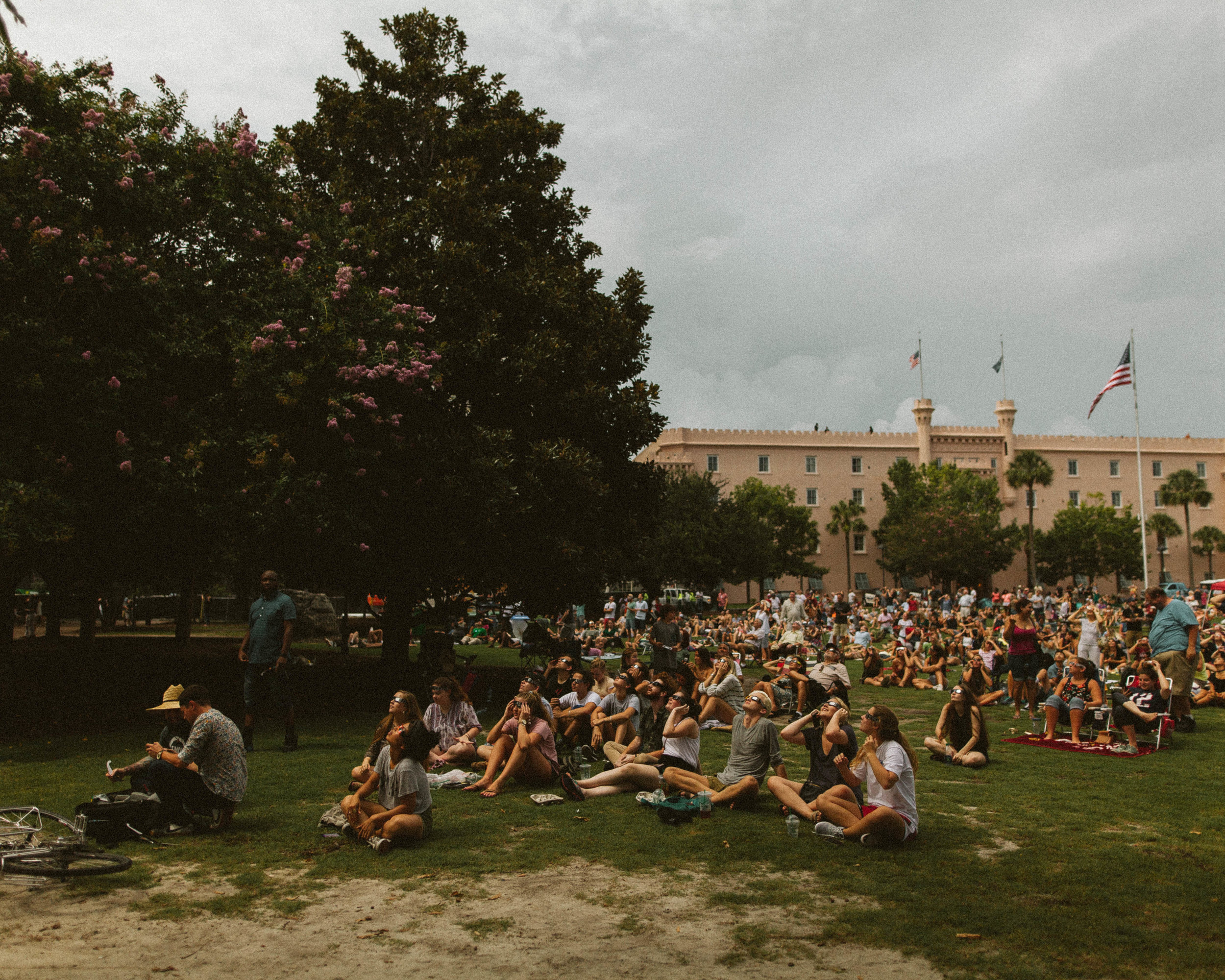 Students from University of Charleston filled Battery Park. -