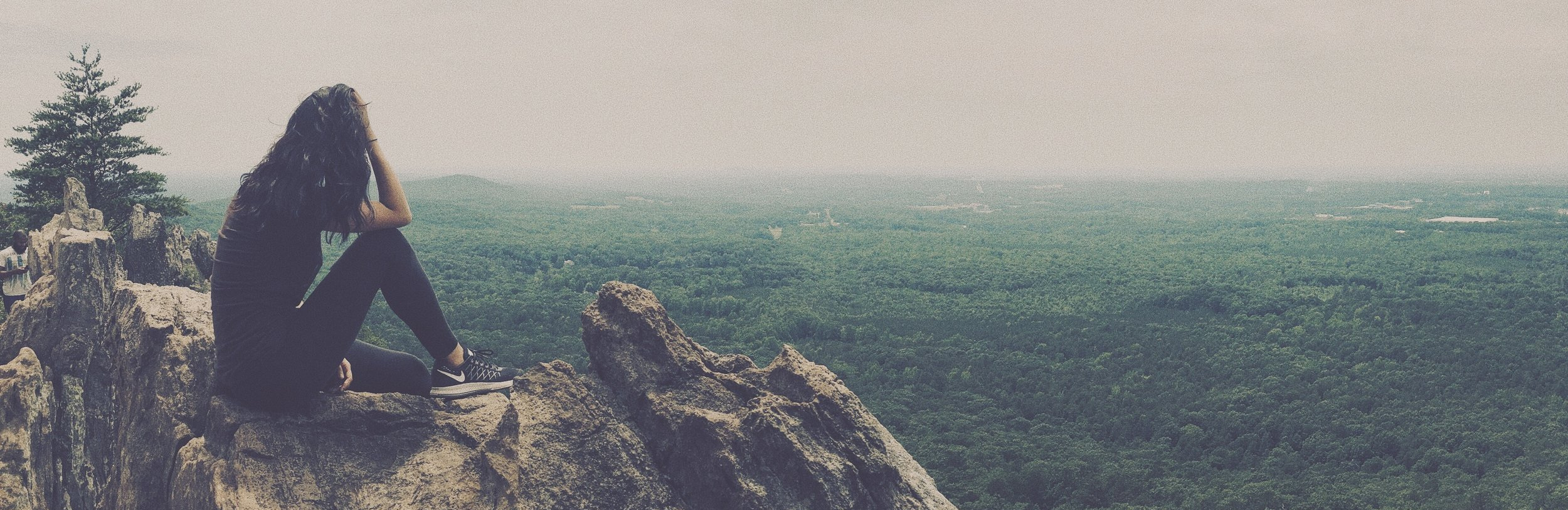 The view from the top of King's Pinnacle at Crowders Mountain State Park.