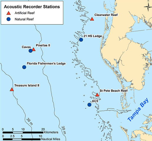 Map of study area showing acoustic recorder stations.