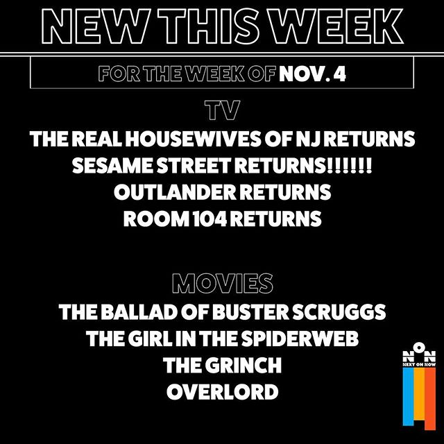 Here's a collection of new shows and movies coming this week. There will be a new post just like this every Monday. :) #overlord #newthisweek #movies #tv #realhousewivesofnewjersey