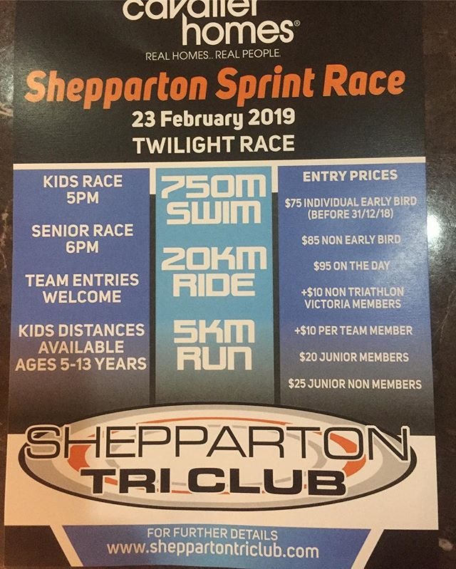 Entries filling fast don't forget to pre enter to avoid on day hassles. Enter at https://sheppartontriclub.com/events-1