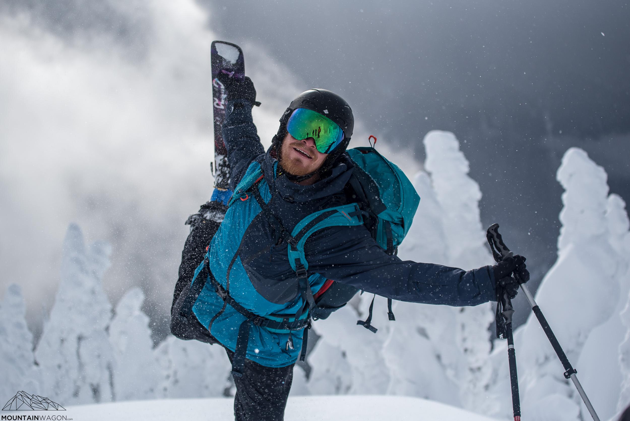 Chef/guide Dave demonstrating his ski yoga.