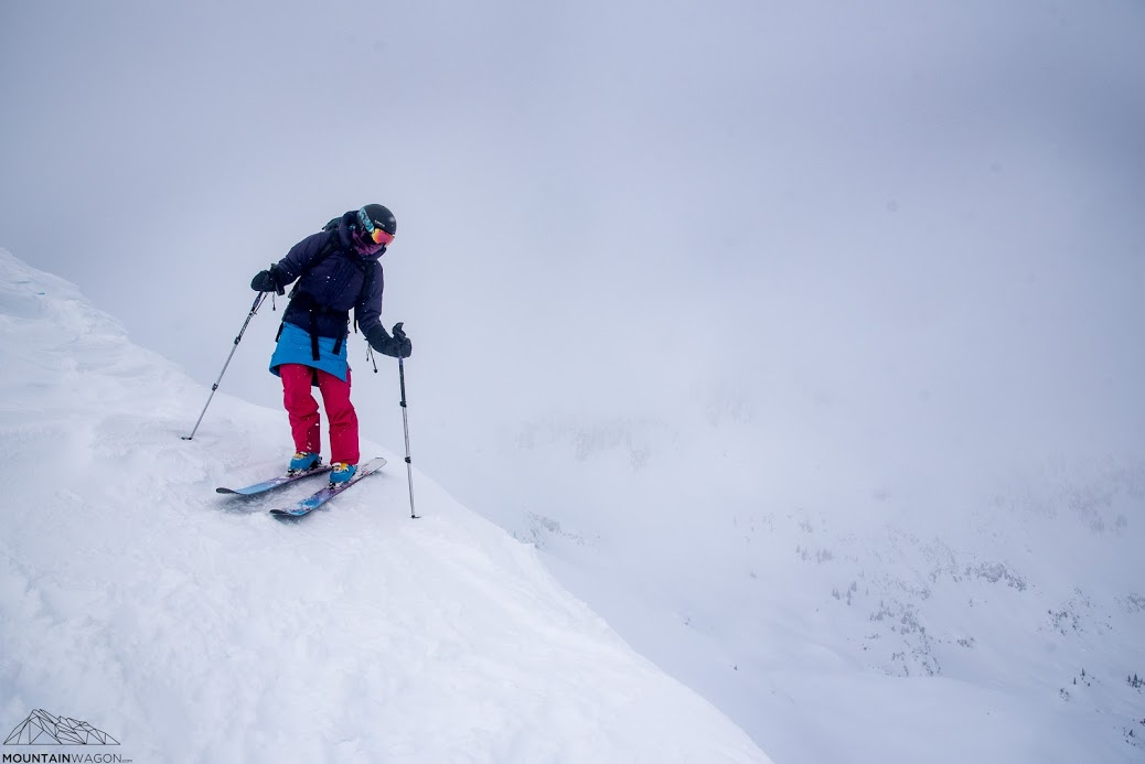 We skied out from camp via a cool loop and alpine bowls to reach the road.