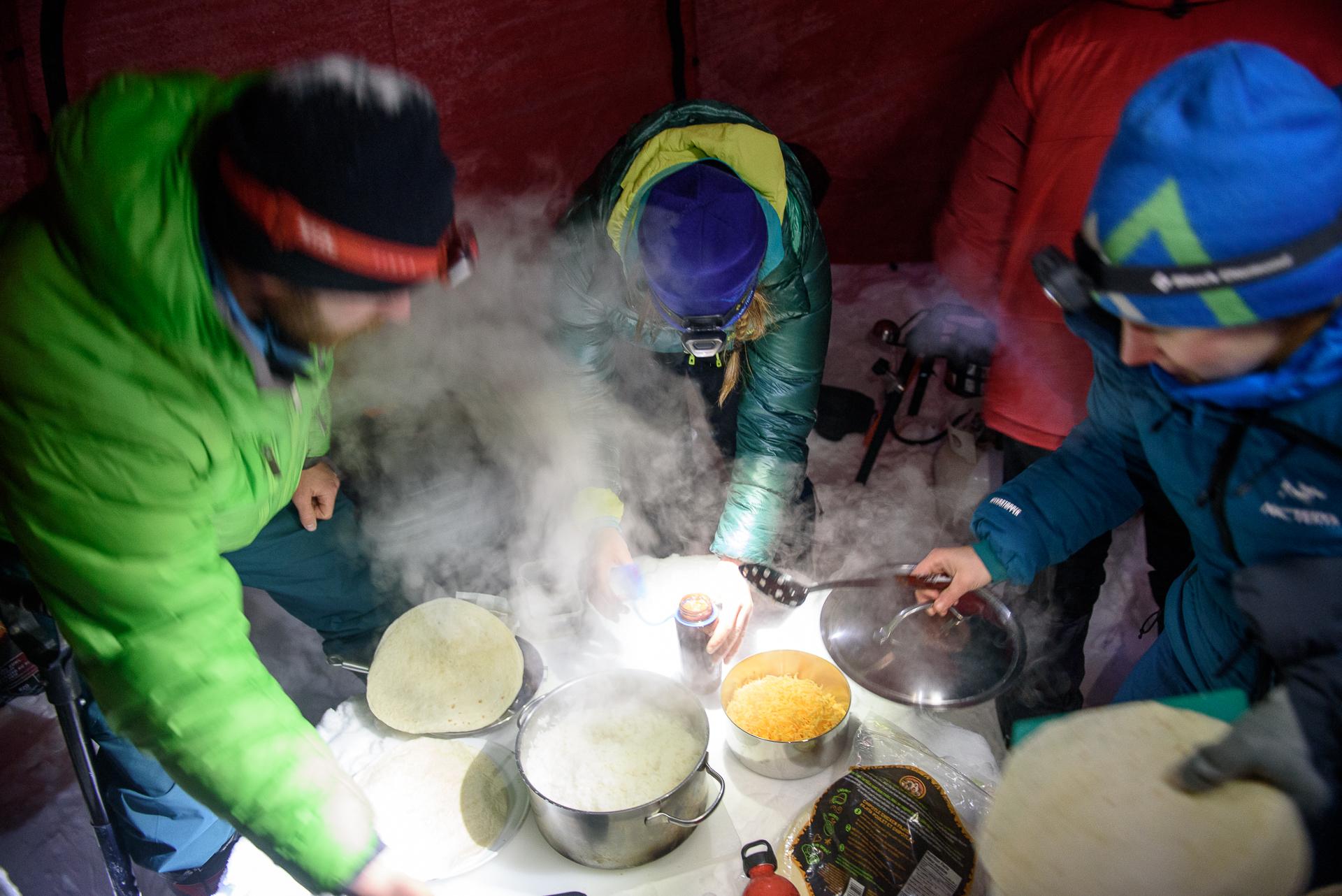 Burrito spread on our snow table. Photo Rich So