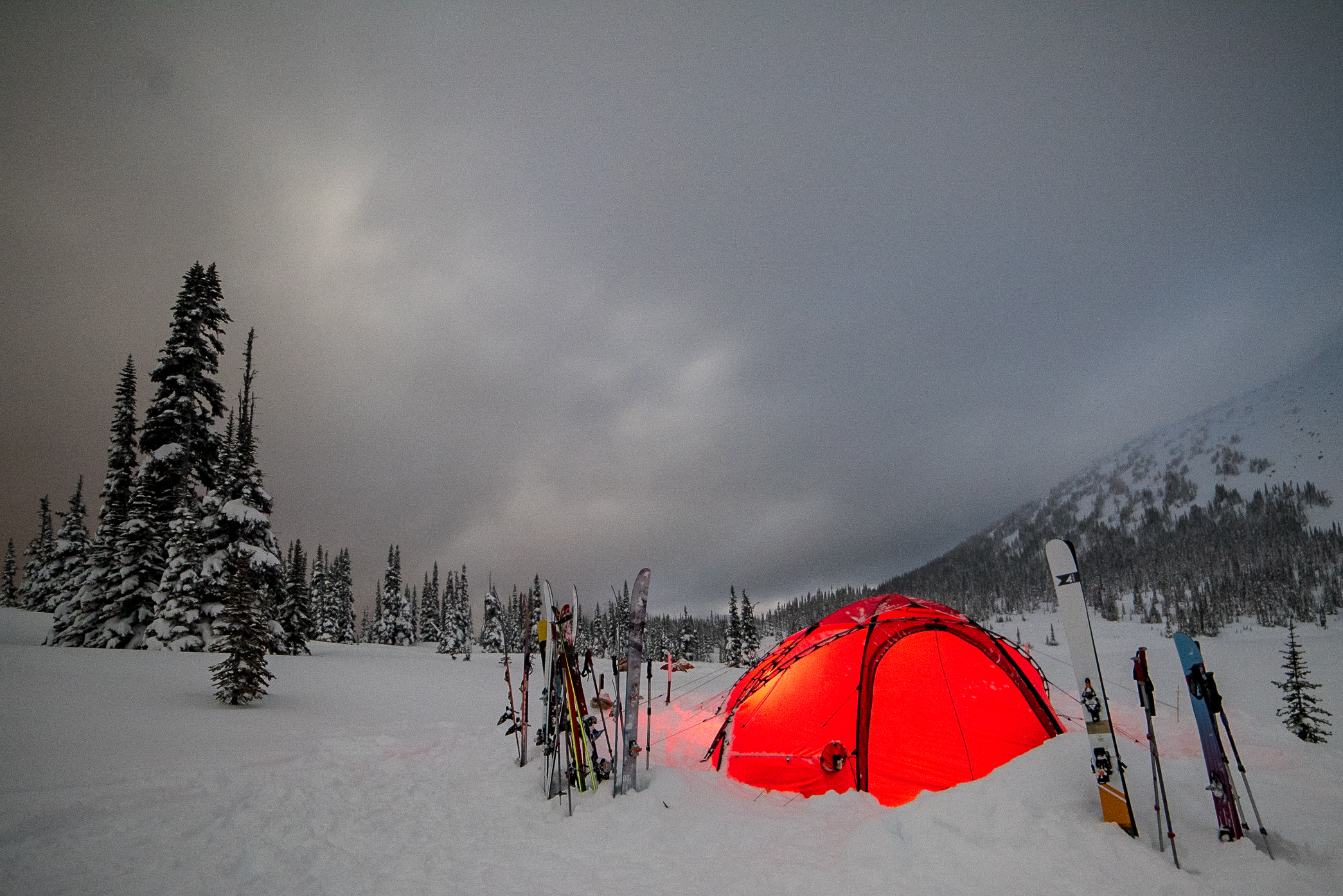 In the winter cold, our camps shine like a beacon of warmth. Photo Phil Tomlinson