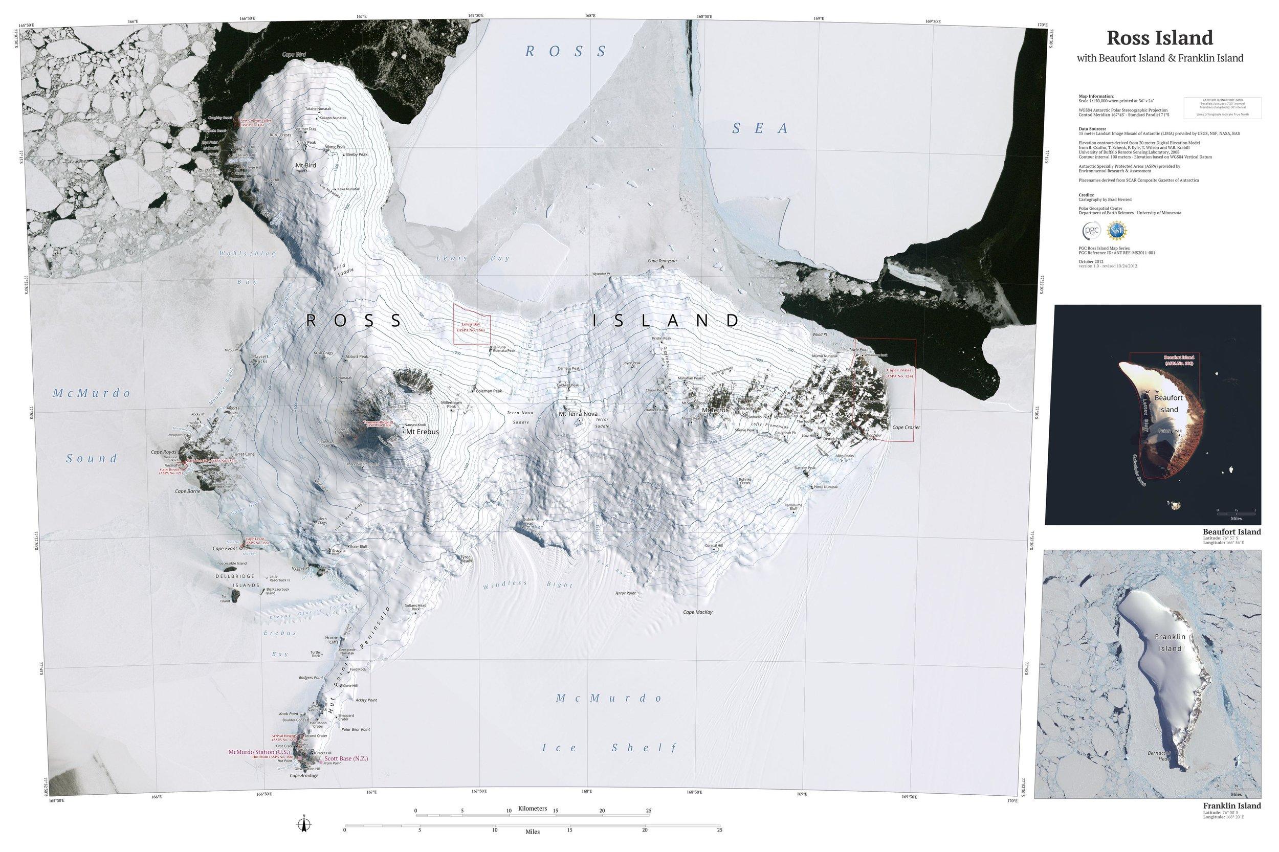 Ross Island and Beaufort Island & Franklin Island, by Brad Herried, Polar Geospatial Center