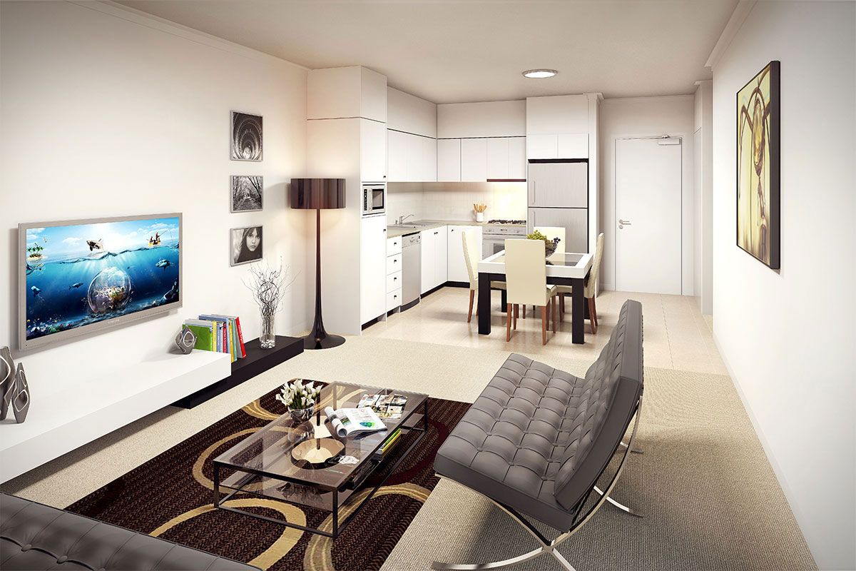 1 Bed + 1 Bath + Study $309,000 - UNIT 203 | 62SQM INTERNAL 20SQM EXTERNAL-Open-plan kitchen, living & dining opening to balcony- 2 way ensuite & separate powder room -- Spacious 30m2 entertainers balcony Ample, natural light throughout