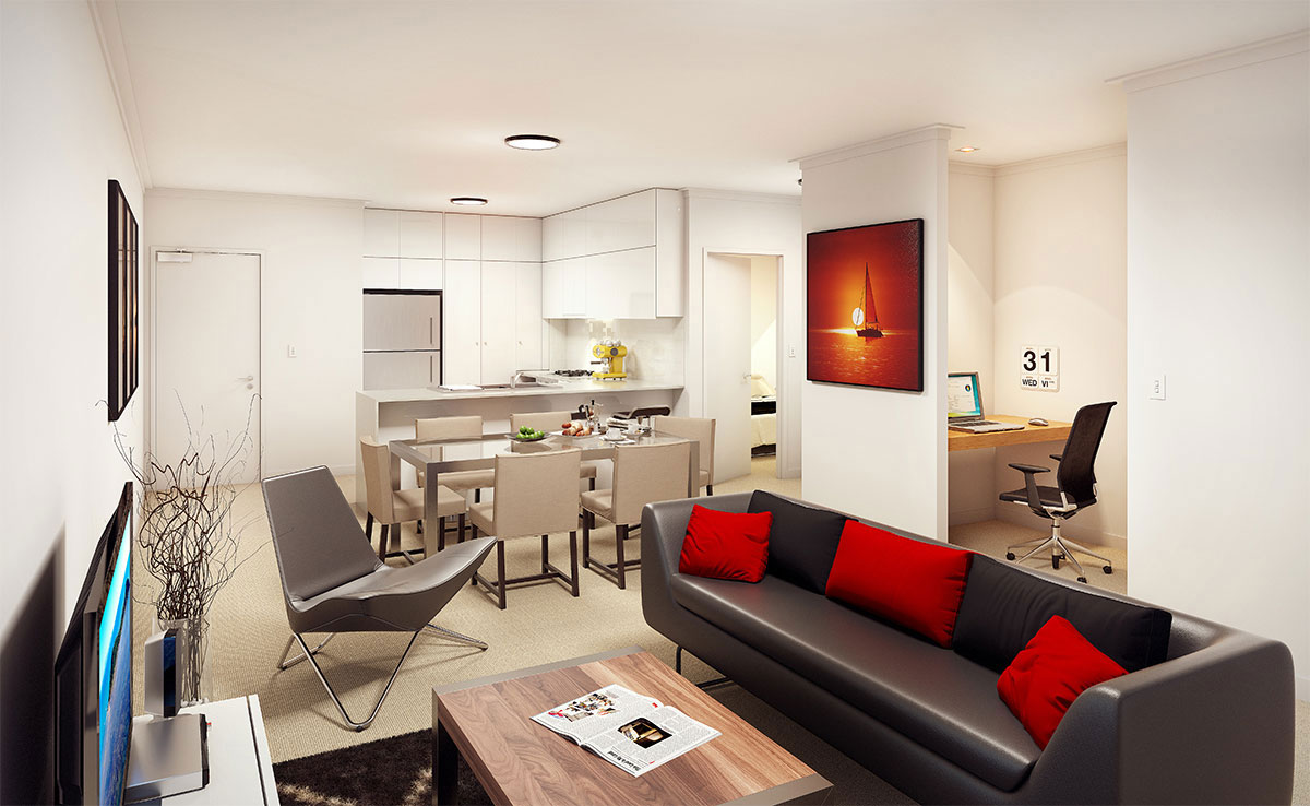 2 Bed + 2 Bath $409,000 - UNIT 106 | 71SQM INTERNAL 14SQM EXTERNAL- Convenient study nook- Spacious living & dining integrating with balcony- Both bedrooms feature good robe space