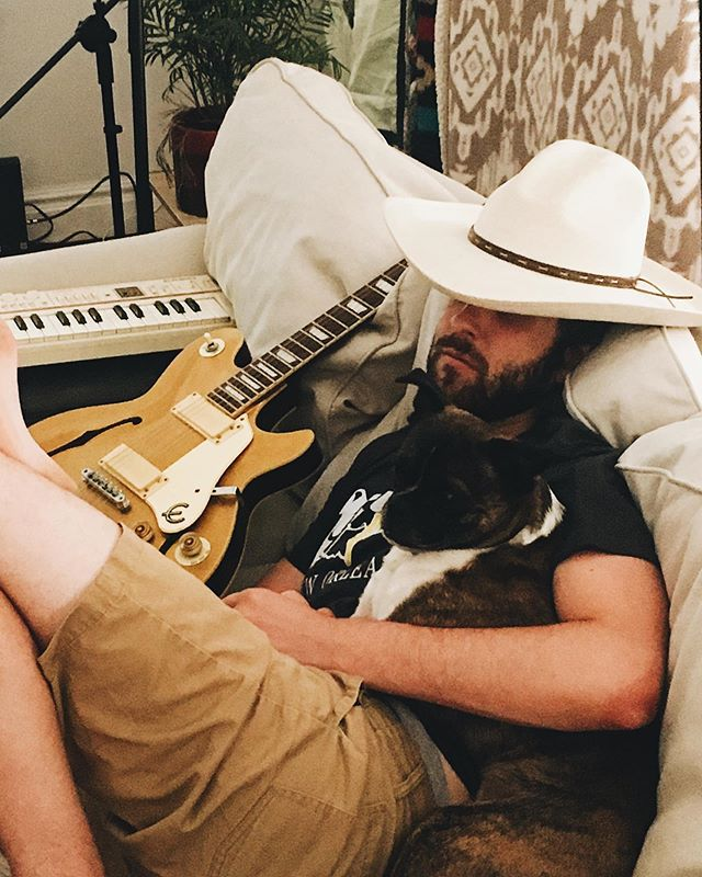 no recording session is complete without jake napping in his rancher hat