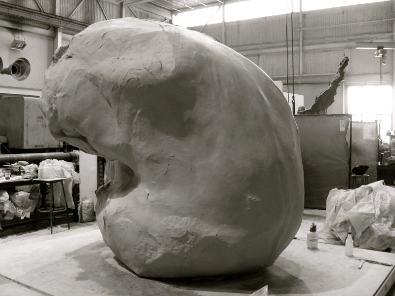The commissioned enlargement to 8' tall bronze casting at Foundry Polich Art Works, NY, 2007