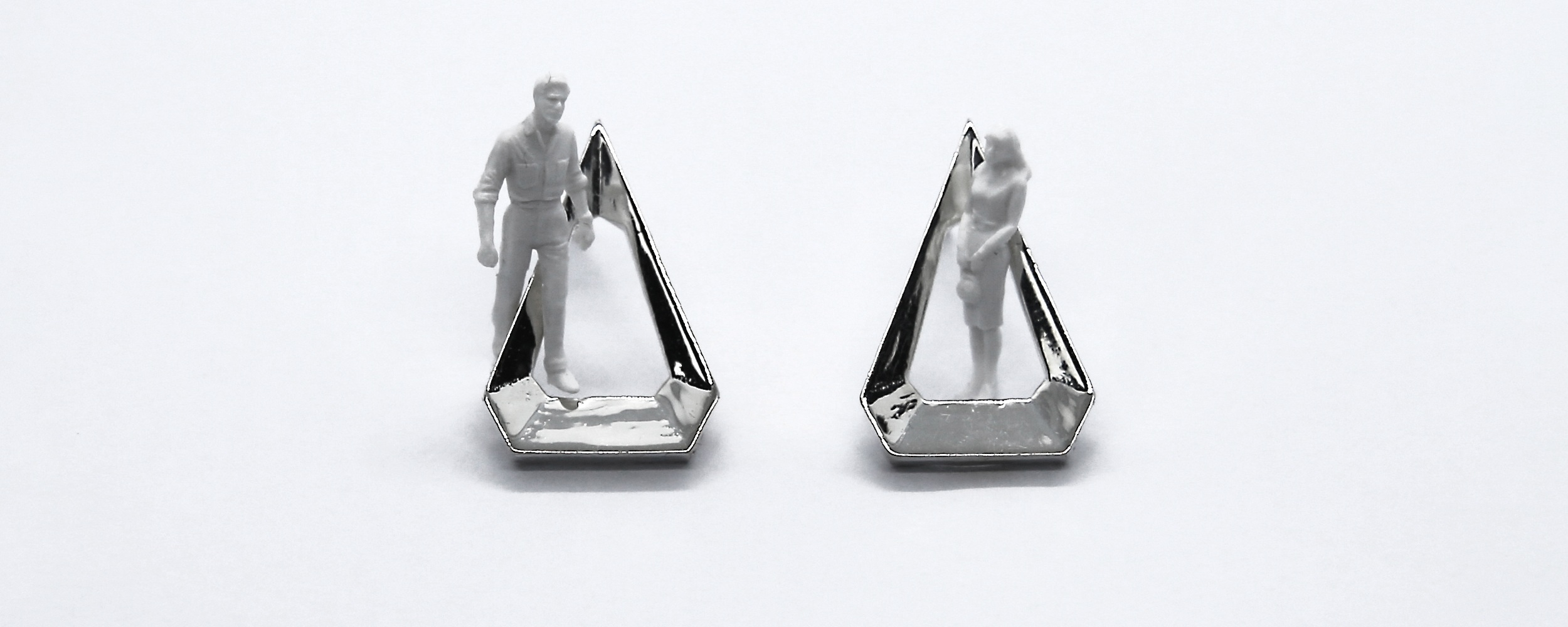 Image features large Welbeck car park inspired diamond studs in sterling silver.