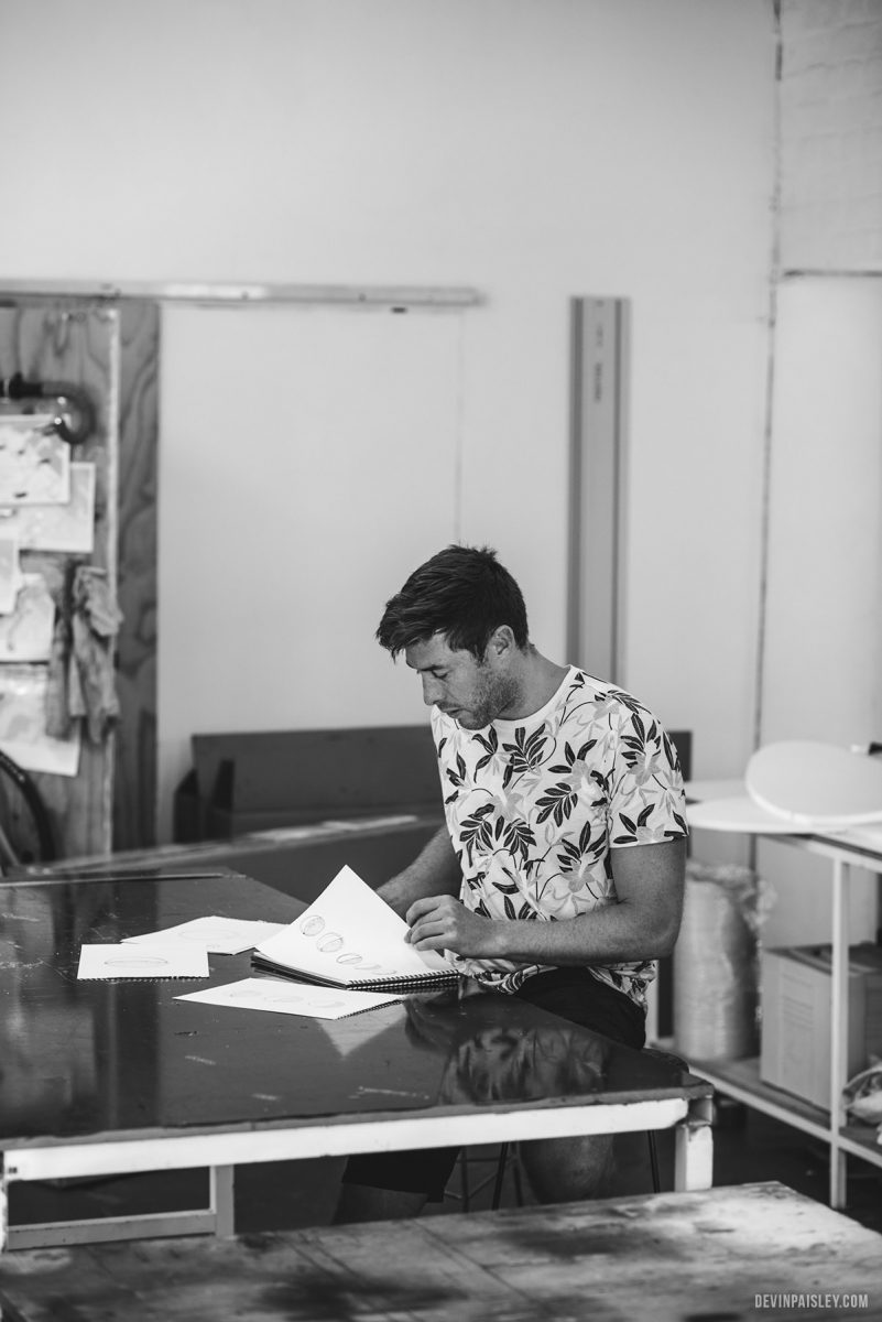 Jesse working on the concepts for his latest show pieces for Southern Guild. (Photo by Devin Paisley)