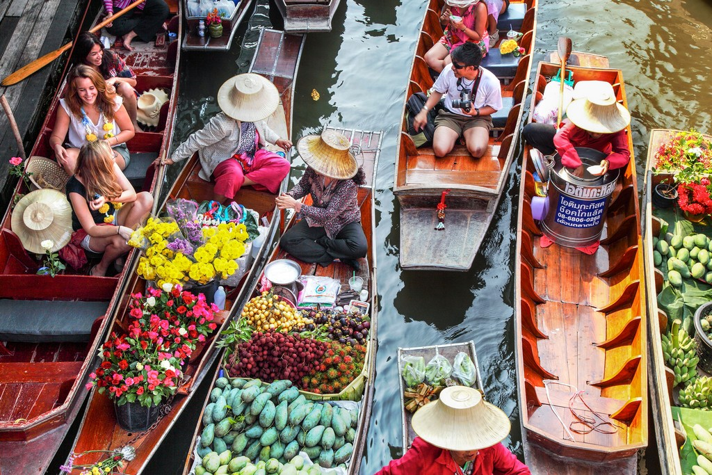 FLOATING MARKETS   While these floating markets were near extinct, they have been kept alive by nostalgic Thais and tourists. To avoid bumper to bumper situations at some of the more obvious choices, rather venture out a little further to   Taling Chan Floating Market  and stop off at   Wat Pho,The Temple of The Reclining Buddha  (rated the #1 thing to do out of 617 experiences in Bangkok), and just 10 minutes upriver. It's best to get there early to avoid the crowds and sweltering heat.   Map