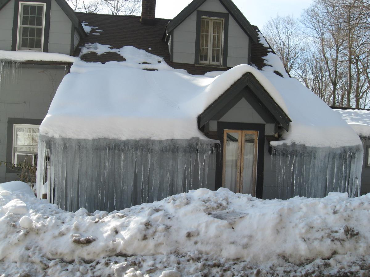 recent North Kingston, RI winter storm ice dam insurance claim.