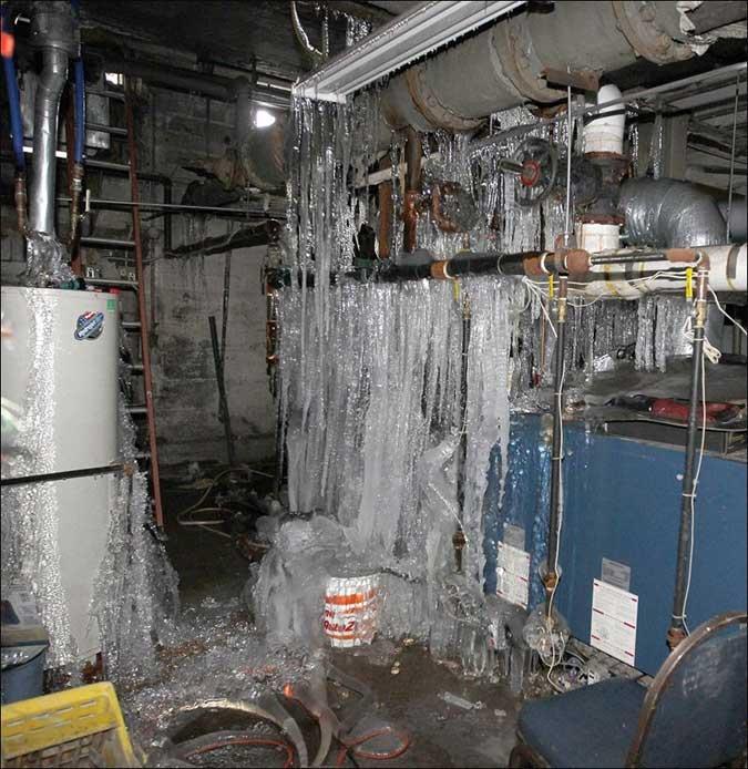 recent Providence, RI winter storm pipe burst Insurance claim.