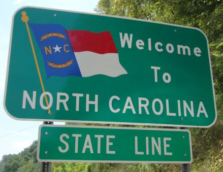 Welcome to North Carolina state line sign.