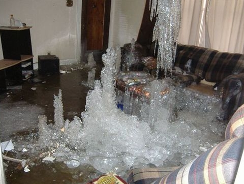 somers, ct major water damage insurance claim from winter ice dam.