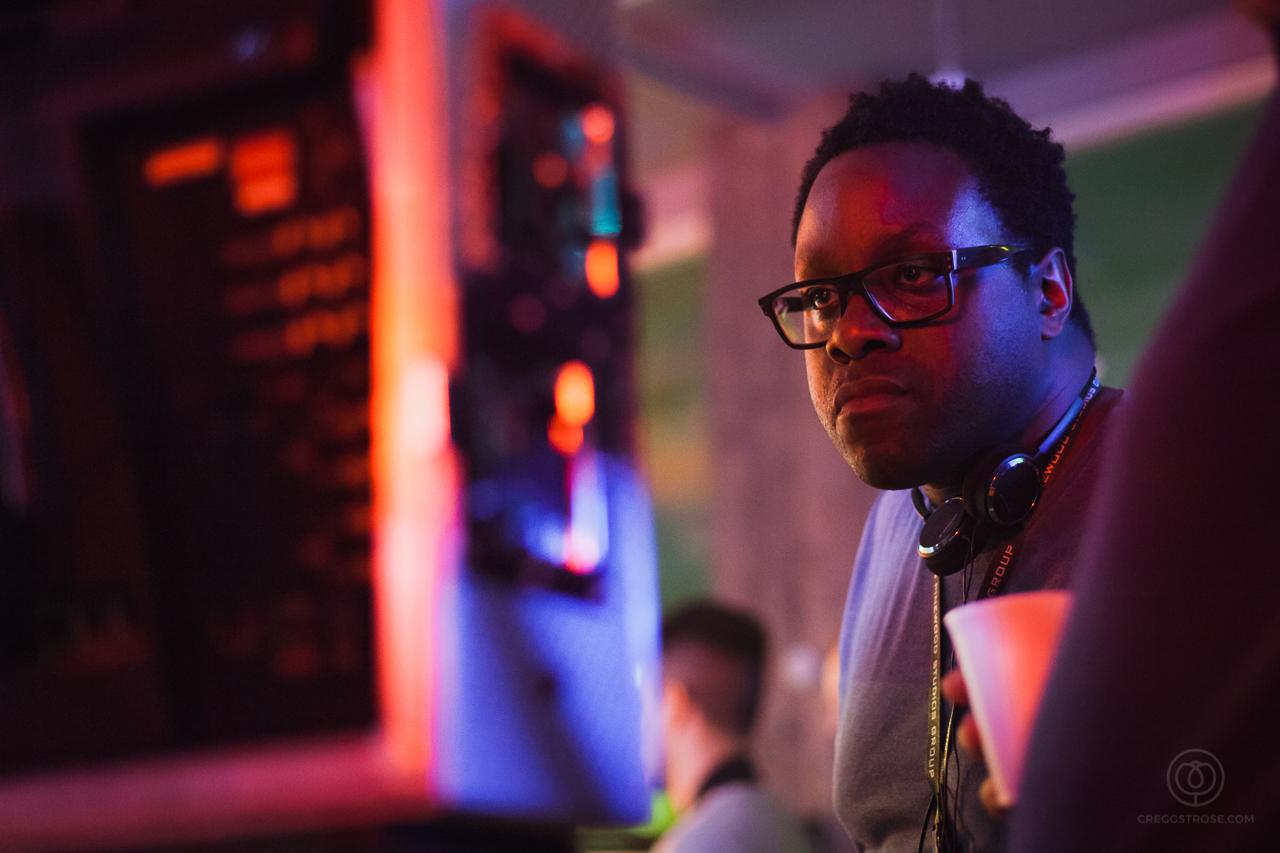 Robbie Samuels on set of Hip Hop Cafe. Photograph by Cregg St. Rose