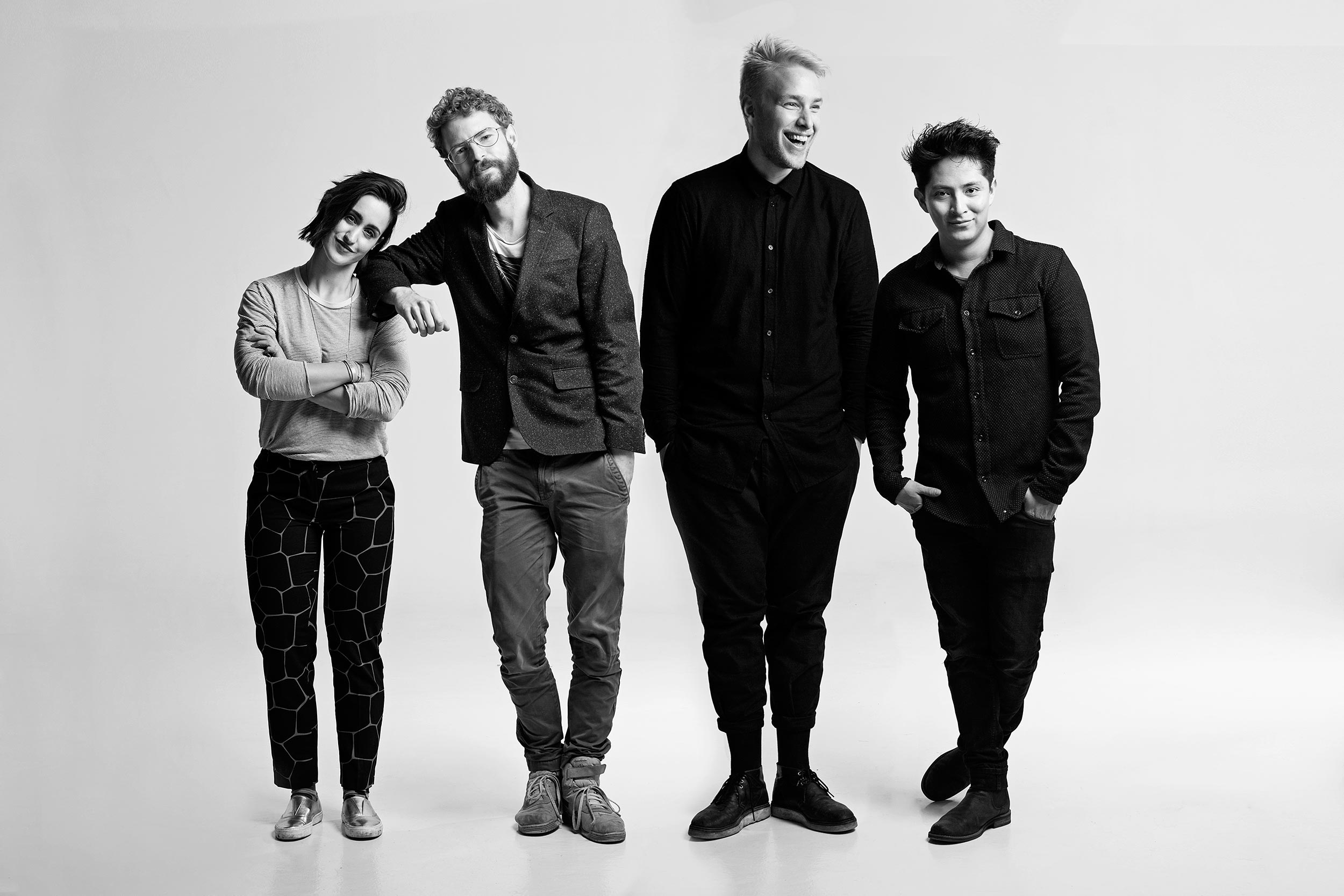 Anastasia Dimitriadis, Jonas Grøn, William Milsted and Emil Lyders - the entire team in the [etikede] project.