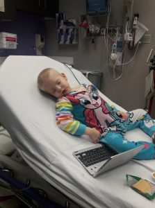 Katie in the hospital