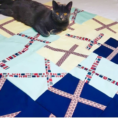 Tanya's gorgeous quilt top-- with bonus kitty!