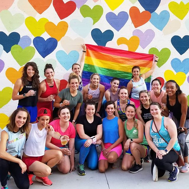 TOGETHER, we tread 🌈 Shout out to @fitatelier & @balletfittheory who teamed up with us for a special Fit Friday Pride event this past weekend - thank you to everyone who came out @treadhappyclt to help us support @cltpride as we celebrate #pridemonth and raise awareness & support for the #LGBTQIA+ community 🤗 Y'all remind us that these endorphins ARE for everyone #EndorphinsForEVERYONE