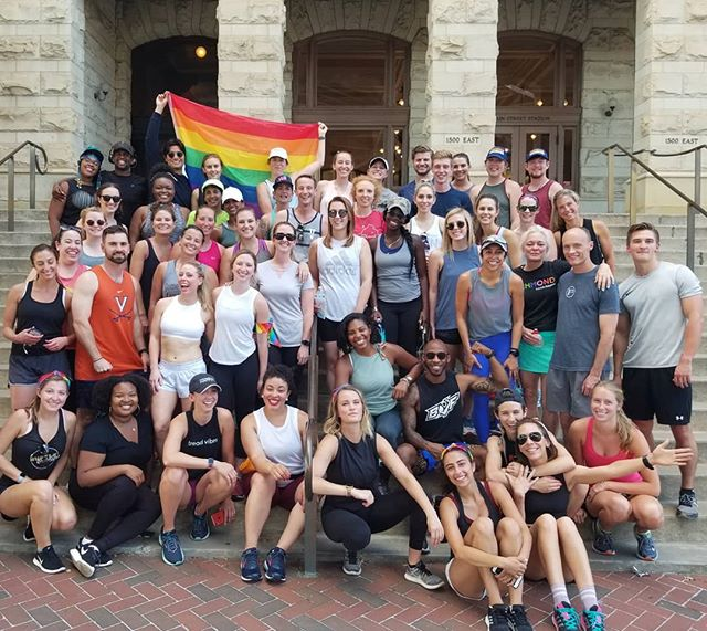 Endorphins for EVERYONE 🌈 #RVA we stood #ProudAndPresent last night, embracing community in a most vibrant, visible, & inclusive way - by treading and gathering together to affirm, support, and promote equality & inclusion. Thank you @cemitche @treadhappyrva & @ashleyj_williams @baresoulyoga for coming together to plan & promote such a powerful event. And to @lululemon for helping elevate all in the #fitfam community! As we close out a month of #pride events at our studio locations we are reminded, once again, that we are stronger & better TOGETHER #EndorphinsForEveryone . . . #RemixYourRun #treadVIBES #treadSUMMER #pridemonth #loveislove  #treadtreadBABY  #treadHAPPY #UVAruns #treadTEAM  #treadTRIBE #treadTOGETHER #celebrate #runcoach #Run919 #RunRaleigh #Run704 #werunrichmond #virginiaisforrunners #Run434 #Run804 #RVAruns #RVAfit #CLTfit #CLTruns #HappyTreading