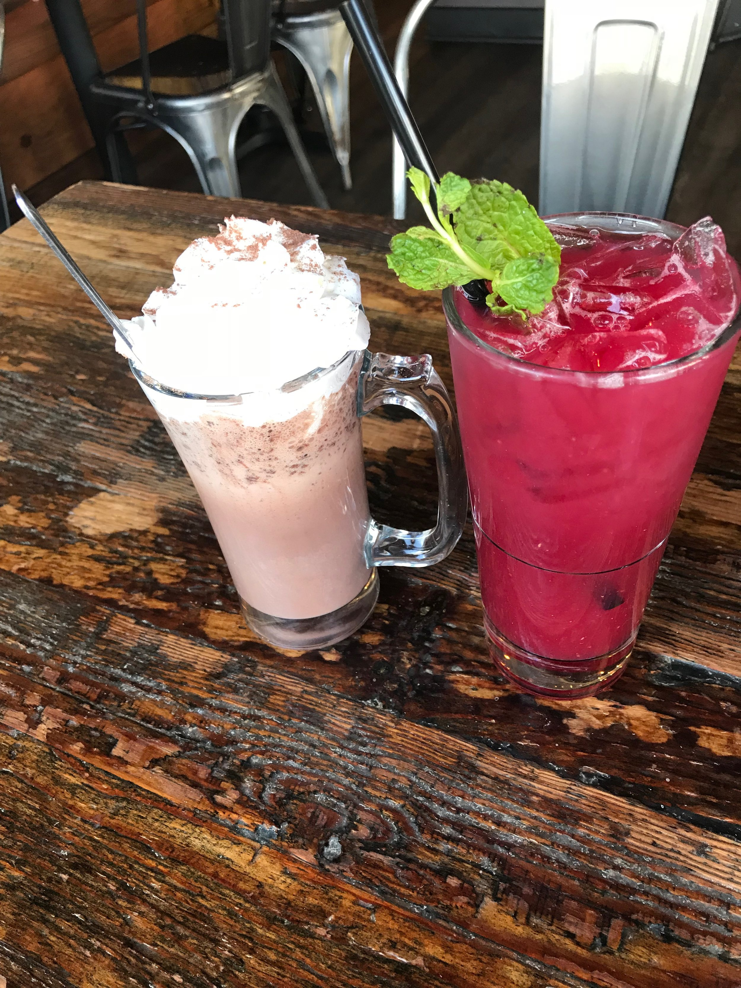 Our drinks: Hot Chocolate on the left, Raspberry Lemonade on the right