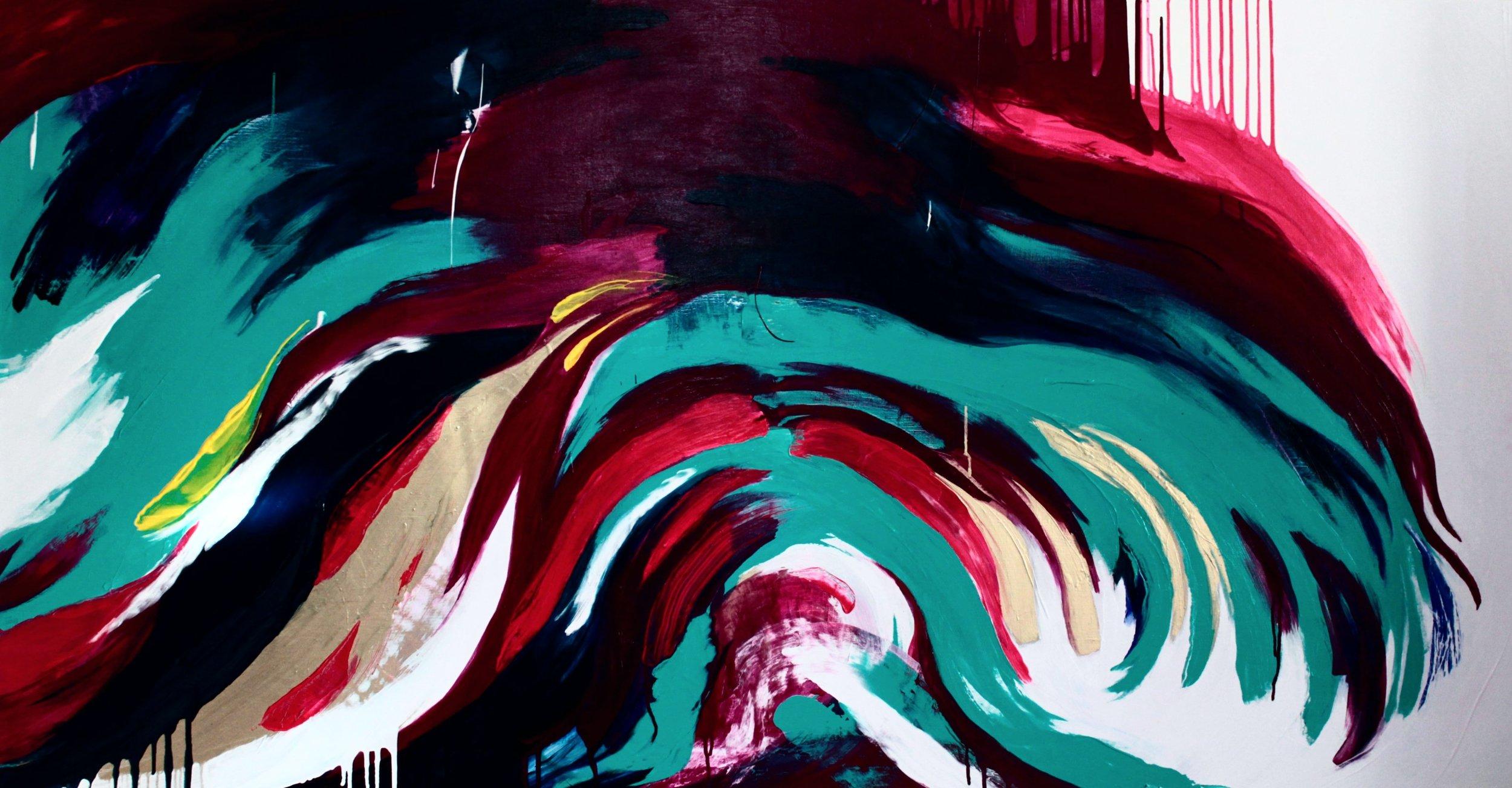 Fontána, Akryyli ja pigmentti kankaalle, 100 cm x 190 cm  Myyty / Sold