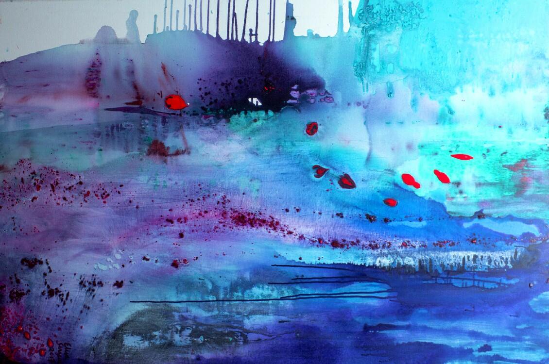 Vesi on salaisuuksia täynnä, Akryyli kankaalle, 100 cm x 150 cm  Myyty / Sold