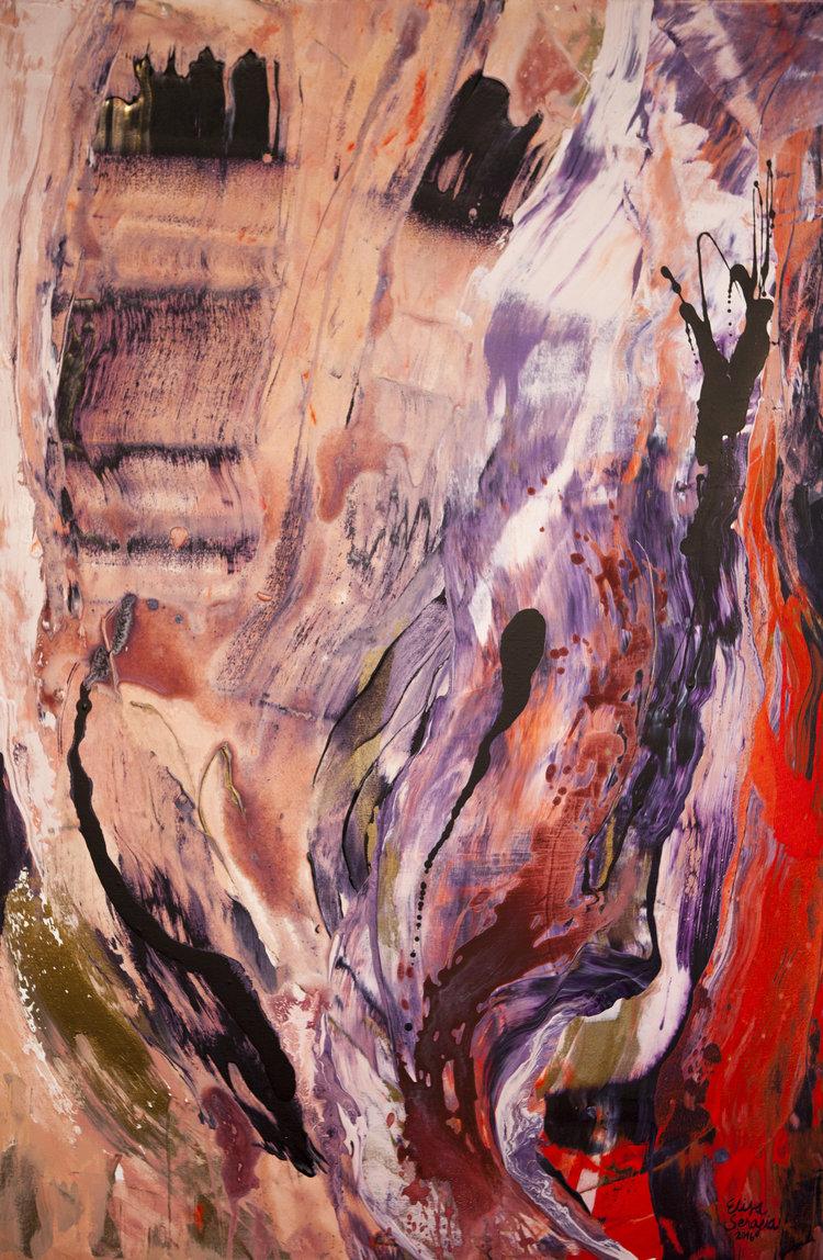 Voimani kasvoni juureni, Akryyli kankaalle, 150 cm x 100 cm  Yksityiskokoelmassa