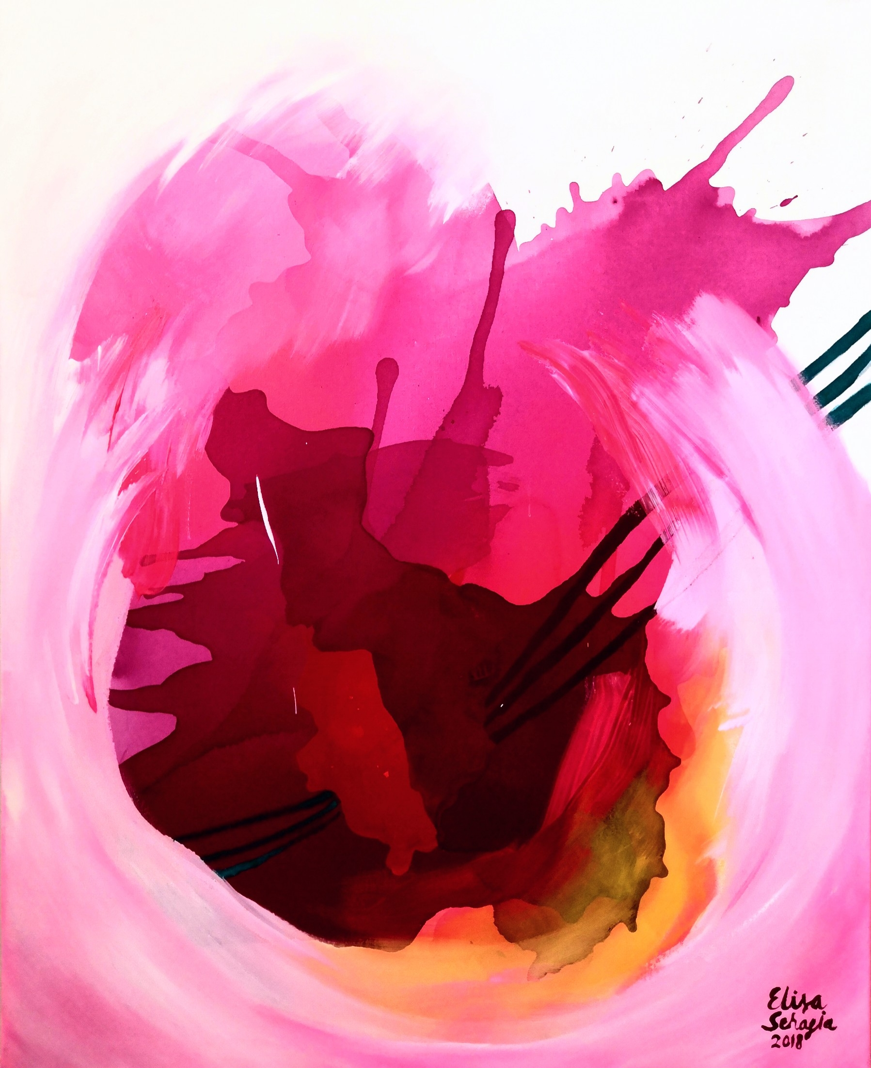 Autumnwine, Akryyli ja pastelli kankaalle, 100 cm x 80 cm  Myyty / Sold