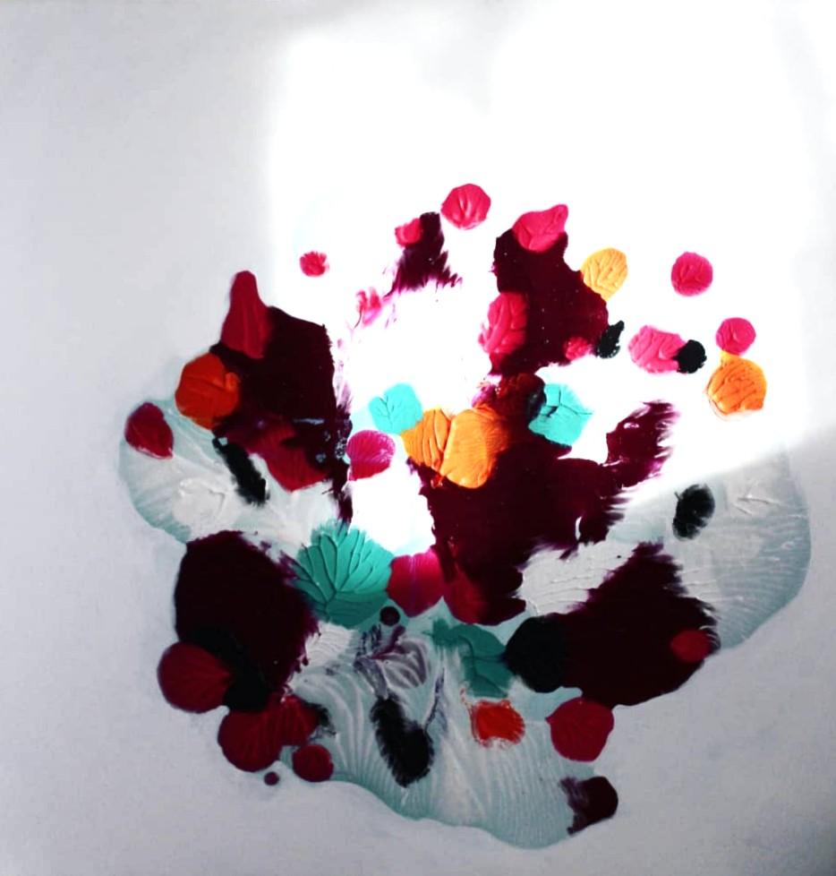 Dahlia, Akryyli & pigmentti kankaalle, 90 cm x 90 cm  Myyty / Sold