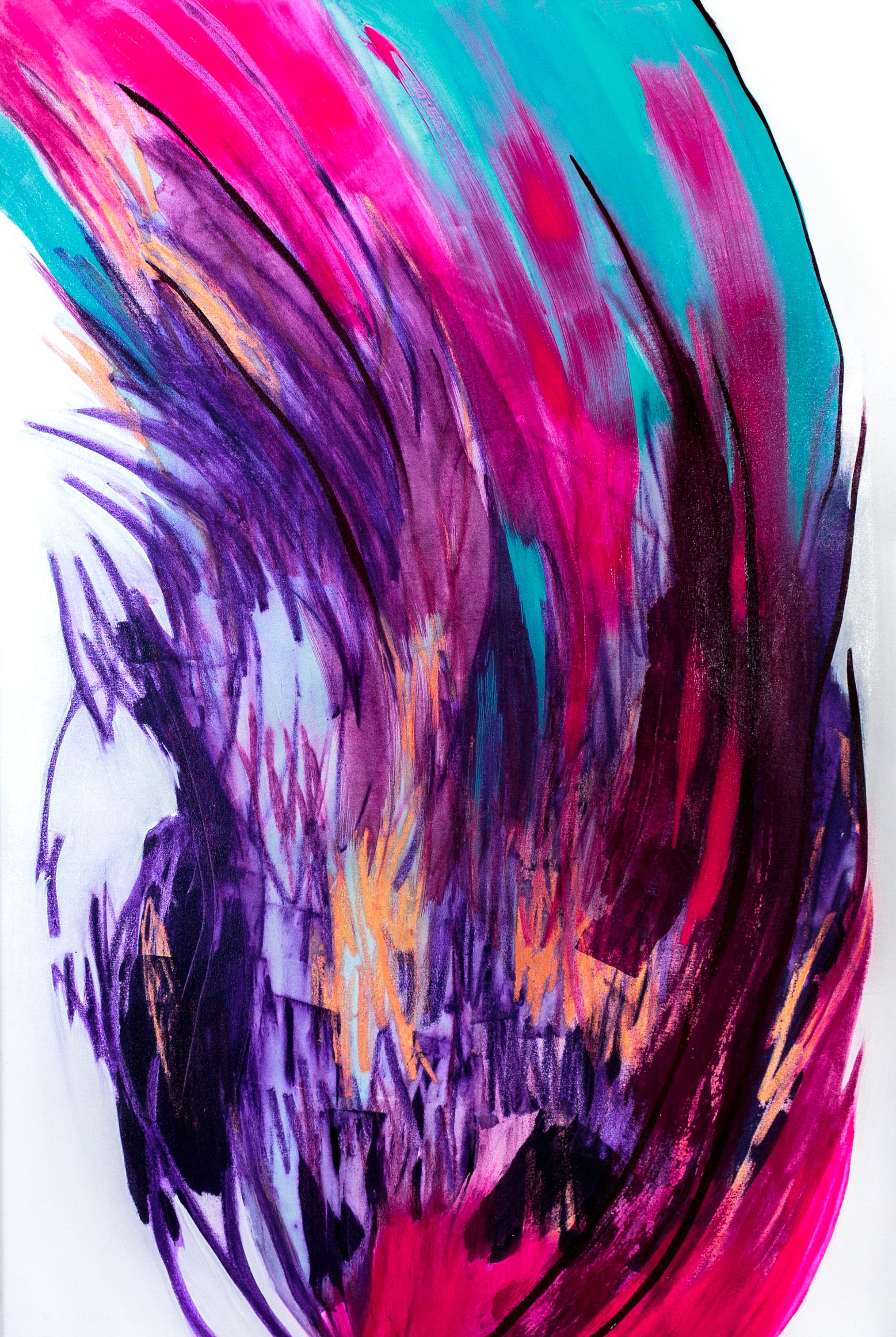 Orvokkirovio, Akryyli, pigmentti & pastelli kankaalle, 150 cm x 100 cm  Myynnissä / For sale