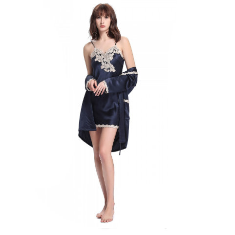 NIGHTWEAR   22 Momme Silk Nightdress & Dressing Gown Set With Delicate Lace  (largest)