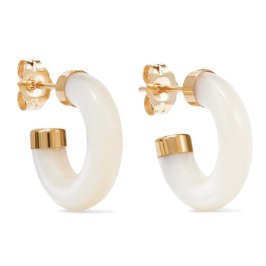 JEWELLERY   Loren Stewart Stone Gold Mother-of-pearl Hoop Earrings