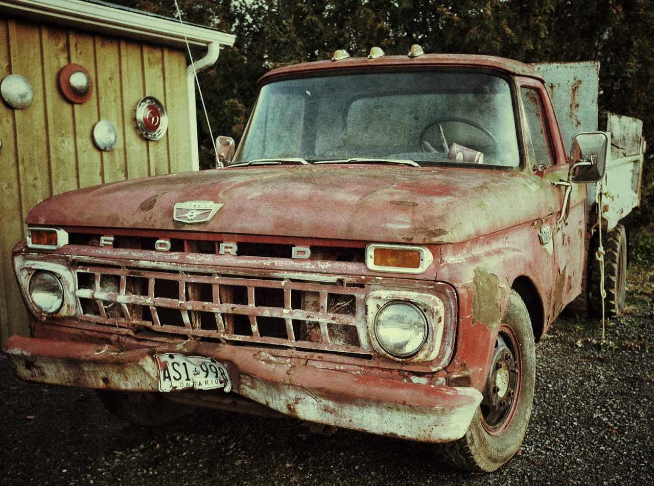 Ford Tough   I spent the weekend in Stirling, Ontario, visiting friends in a Christmas Panto show, and I had some time to walk around yesterday with my Fuji X100. I fell in love with this truck and took a few shots. All of the post-processing was done on my iPad with Snapseed.